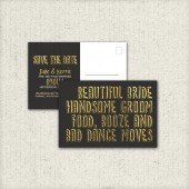 Modern, Gold Foil, Classic, Rocker, Art Deco, Cheeky, Witty, Black, Matte, Save the Date Postcard, 2014 - Printable, Custom - DIY