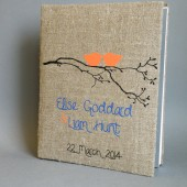 Wedding rustic old style photo album or scrapbook burlap Linen Bridal shower anniversary Orange Birds on branch