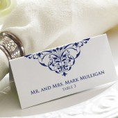 Damask Tented Wedding Place Cards - Elegant Escort Cards - Wedding Seating Cards - Custom Colors - Blank or Personalized Options