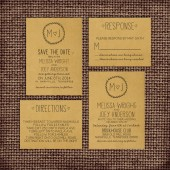 Wedding Invitation Suite DEPOSIT - Personalized, Digital, Printable, Custom, DIY - Rustic, KRAFT Paper, Sketches, Drawn