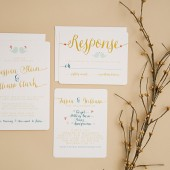 Wedding Invitation Suite Set - Printable, Custom, DIY - Modern, Woodland, Digital, Birds, Gold, Teal, Hearts