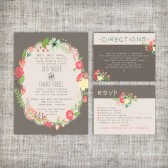 Wedding Invitation Suite Set - Printable, Custom, DIY - VINTAGE, Floral, Flowers, Modern, Spring, Fauna