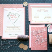 Pink Love Birds Wedding Invitation