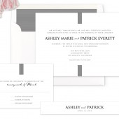 Contemporary Stripes Wedding Invitation - Black and White