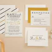 Wedding Invitation Suite DEPOSIT- Gatsby, Custom, DIY - MODERN, Art Deco, Abstract, Gold, Eat Drink and Be Married
