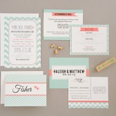 Wedding Invitation Suite - Printable, Custom, DIY - Chevron, MODERN, Pattern, Coral, Bright, Spring, 2014, Cute, Patterns