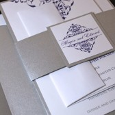 Vintage Damask Wedding Invitation Suite - Silver Wedding Invitation