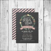 Modern, Chalkboard, Floral, Flowers, Laurel, Wreath, Rustic, Black, Vintage, Bridal Shower, 2014, Chalk - Printable, Custom - DIY