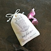 Personalized wedding favor bags, 3x4.5. Set of 50 double drawstring muslin bags. Tea for Two tea cups with custom names.
