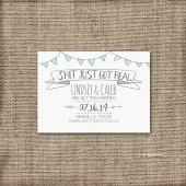 Save the Date Card Printable - DIY Wedding, Sh*t Just Got Real, Engagement, Modern, Rustic, Hand Drawn, Funny, Hipster, 2014