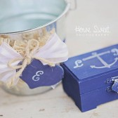 Flower Girl Basket and Ring Bearer Box, Pillow/ SET. Nautical Wedding - Personalized