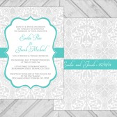 Lace wedding invitations - gray and turquoise wedding invite damask - printable