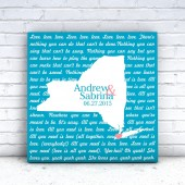 wedding canvas, song lyrics, song lyric art, wedding song, canvas wall art, state map canvas, state map art, love art, couple map, map art