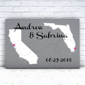 wedding canvas, canvas wall art, state map canvas, state map art, two state map, love art