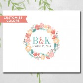 Wedding guestbook canvas, unique, guest book alternative, shabby chic, floral wreath monogram, personalized