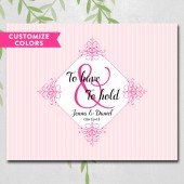 Wedding guest book alternative, unique, blush pink, ampersand, guestbook canvas, to have and to hold