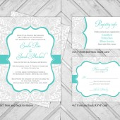 damask wedding invitation set - lace wedding invite - turquoise and gray - printable or printed