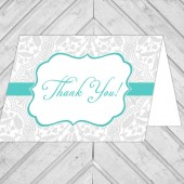 damask wedding thank you card - lace thank you note card - gray and turquoise - printable