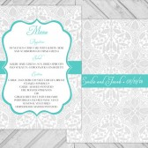 damask wedding dinner menu - lace wedding reception menu  - printable - gray and turquoise