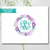 floral wreath monogram - unique wedding guestbook alternative canvas - radiant orchid