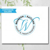 Unique wedding guest book alternative canvas, personalized wedding monogram logo