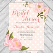 Shabby chic bridal shower invite - flower wedding shower invitation - peach and coral - polkadots - watercolor flowers