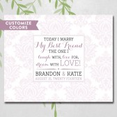 Damask wedding guest book alternative, romantic love quote, today I marry my best friend, personalized guest signing canvas