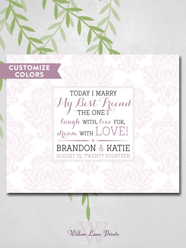 Damask Wedding Guest Book Alternative Romantic Love Quote Today