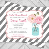 mason jar bridal shower invitation - shabby chic wedding shower invite - gray stripes - printable