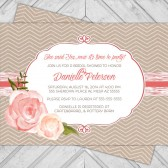 Chevron wedding shower invite - rustic bridal shower invitation - flower invitation - kraft paper - flowers - printable