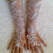 Long Ivory silver bridal gloves wedding lace gloves fingerless gloves