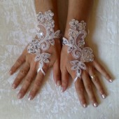 free ship white or ivory scaly Wedding gloves adorned sequins party prom wedding bridal bride celebration gift for woman