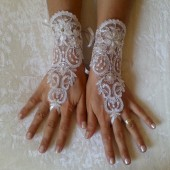 Wedding Gloves, Sparkles Stones, Lace Wedding Accessory