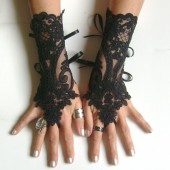 Black  lace gloves french lace bridal lace wedding fingerless gothic gloves