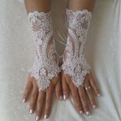 ivory lace gloves french lace bridal lace wedding fingerless glove