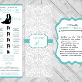 unique wedding program printable - silhouette wedding program