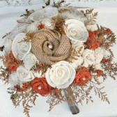 Full Sized Orange Rustic Autumn Wedding Heirloom Bride's Bouquet