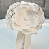 Small Ivory Fabric Anemone Bouquet