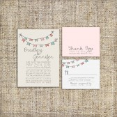 Bunting Wedding Invitation Suite Set