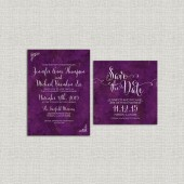 Purple Marble Wedding Invitation Set