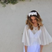 Chiffon bridal cape\shawl