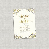 Gold Confetti Wedding Save the Date