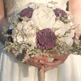 Custom Dyed Aubergine & Wildflower Alternative Bride's Bouquet