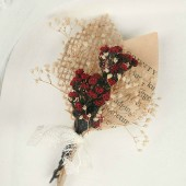 Handmade Dried Red Button Flower Boutonniere
