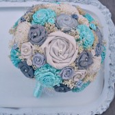 Custom Grey & Tiffany Blue Bride's Bouquet