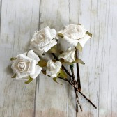 White Flowers Hair Pins