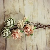Mint, Pink and Ivory Flower Hair Pins