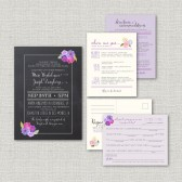 Purple Wedding Invitation Suite Set