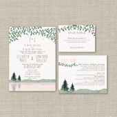 Watercolor Mountain Wedding Invitation Suite