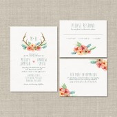 Watercolor Antlers Wedding Invitation Suite